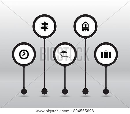 Collection Of Direction, Building, Arrows And Other Elements.  Set Of 5 Relax Icons Set.