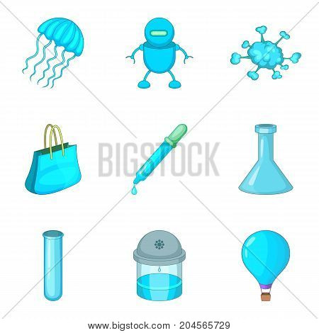 Sky-blue icons set. Cartoon set of 9 sky-blue vector icons for web isolated on white background