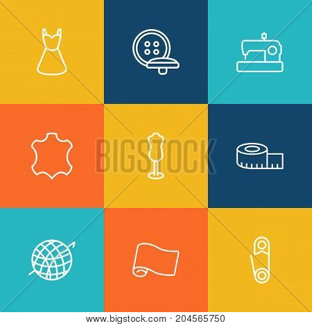 Collection Of Measuring Tape, Fabric, Dummy And Other Elements.  Set Of 9 Sewing Outline Icons Set.