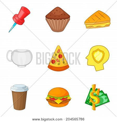 Fast food icon set. Cartoon set of 9 fast food vector icons for web design isolated on white background