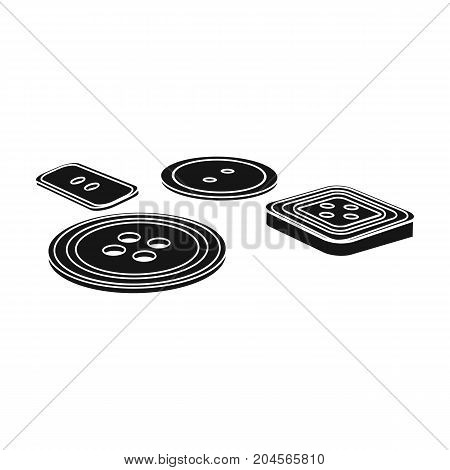 Multicolored buttons for sewing. Sewing and equipment single icon in black style vector symbol stock illustration .