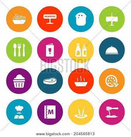 Collection Of Catsup, Registered, Meat And Other Elements.  Set Of 16 Restaurant Icons Set.