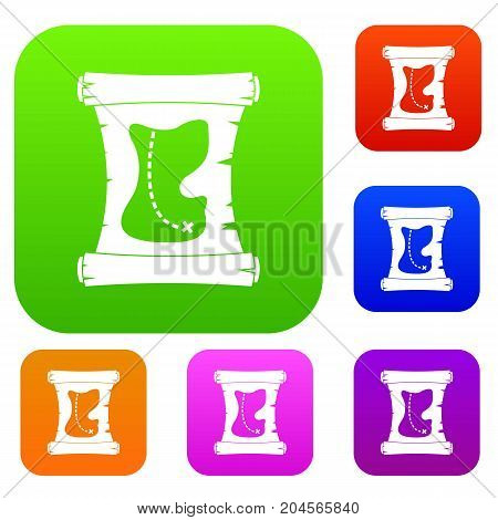 Treasure map set icon color in flat style isolated on white. Collection sings vector illustration
