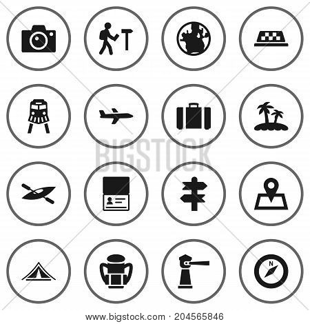 Collection Of Booth, Citizenship, Suitcase And Other Elements.  Set Of 16 Journey Icons Set.