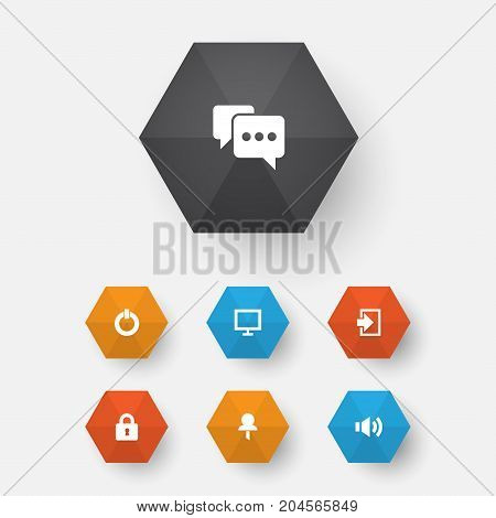 User Icons Set. Collection Of Monitor, Entrance, Button And Other Elements