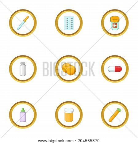 Medical care icons set. Cartoon style set of 9 medical care vector icons for web design