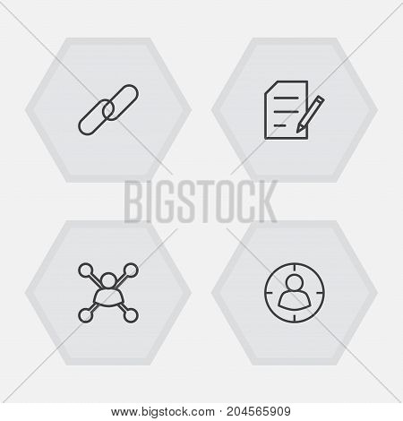 Collection Of Copyright, Stock Exchange, Targeting And Other Elements.  Set Of 4 Search Outline Icons Set.