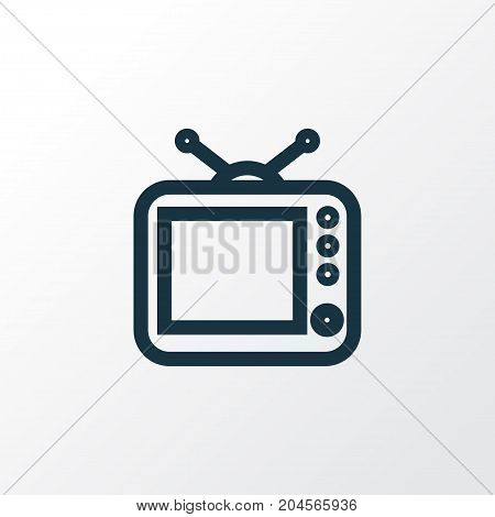 Premium Quality Isolated Television Element In Trendy Style.  Tv Outline Symbol.