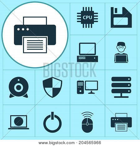 Digital Icons Set. Collection Of Power On, Database, Defense And Other Elements
