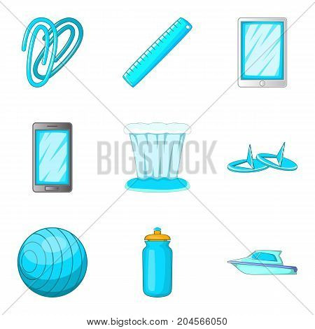 Cerulean icons set. Cartoon set of 9 cerulean vector icons for web isolated on white background