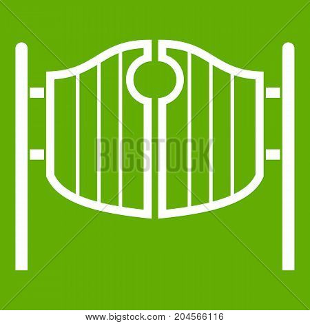 Vintage western swinging saloon doors icon white isolated on green background. Vector illustration