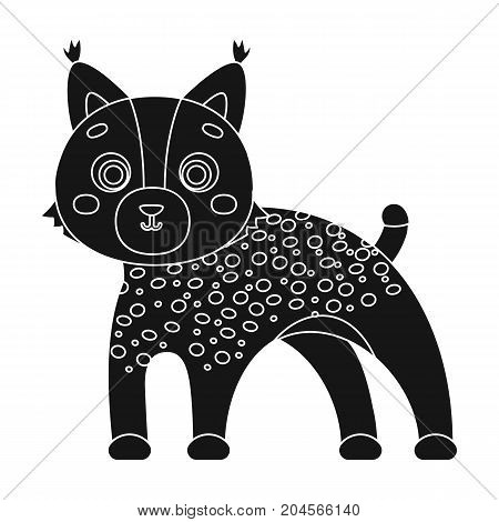 Lynx, single icon in black style.Lynx, vector symbol stock illustration .