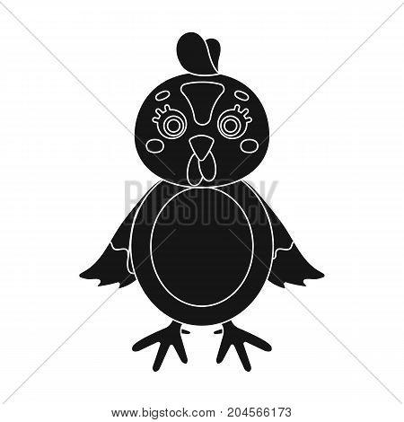 Chicken single icon in black style.Chicken, vector symbol stock illustration .