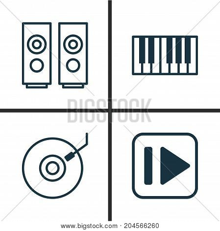 Multimedia Icons Set. Collection Of Gramophone, Following Music, Sound Box And Other Elements