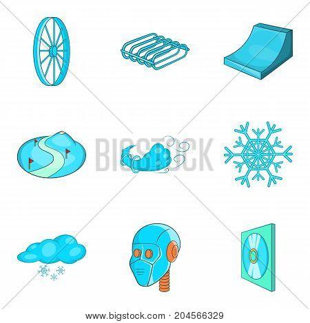 Azure icons set. Cartoon set of 9 azure vector icons for web isolated on white background