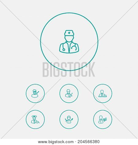 Collection Of Servant, Doctor, Designer And Other Elements.  Set Of 7 Position Outline Icons Set.