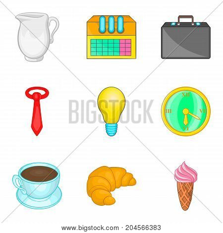 Manager free time icon set. Cartoon set of 9 manager free time vector icons for web design isolated on white background