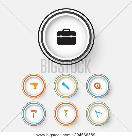 Repair Icons Set. Collection Of Cutter, Toolkit, Screw And Other Elements