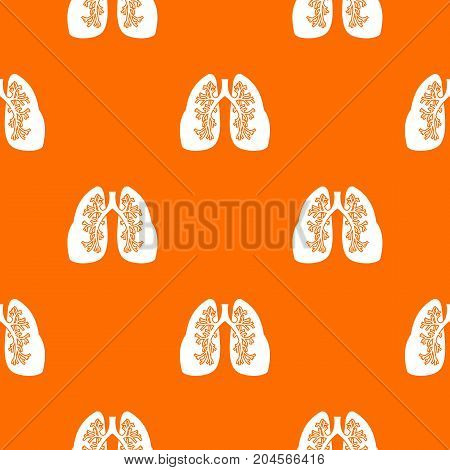 Lungs pattern repeat seamless in orange color for any design. Vector geometric illustration