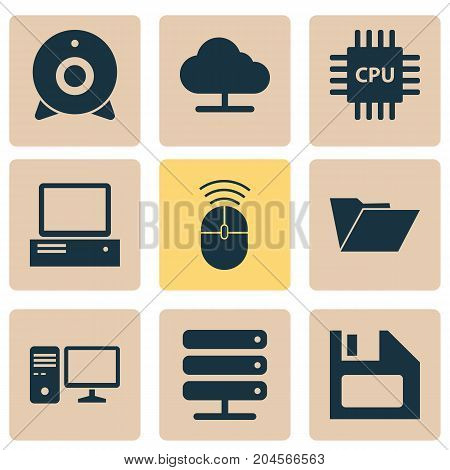 Device Icons Set. Collection Of Tree, Monitor, Motherboard And Other Elements
