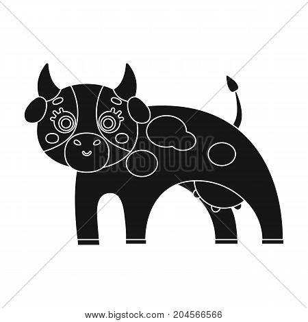 Cow, single icon in black style.Cow, vector symbol stock illustration .