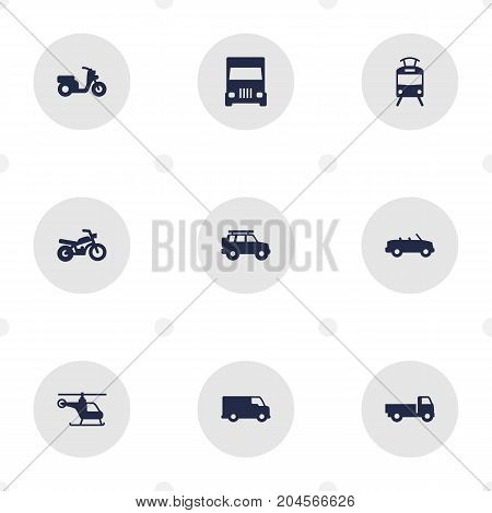 Collection Of Coupe, Caravan, Scooter And Other Elements.  Set Of 9 Shipping Icons Set.