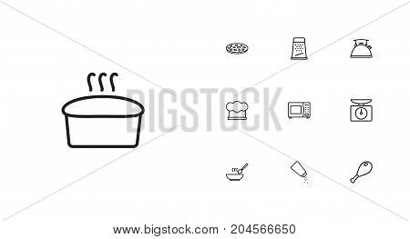Collection Of Kettle, Pizza, Scales And Other Elements.  Set Of 10 Culinary Outline Icons Set.