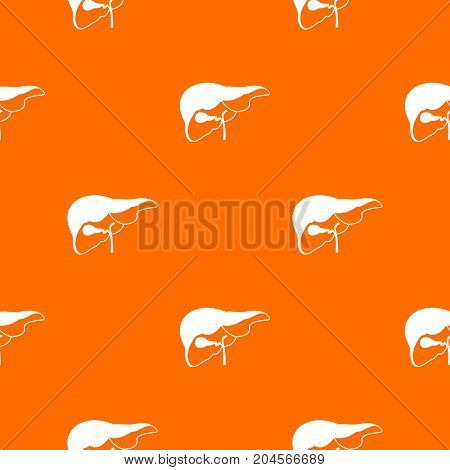 Liver pattern repeat seamless in orange color for any design. Vector geometric illustration