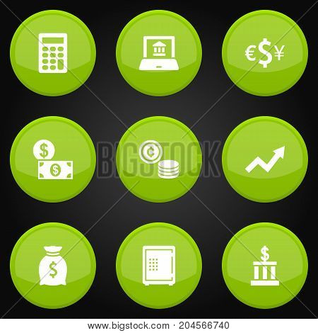 Collection Of Strongbox, Sack, Building And Other Elements.  Set Of 9 Finance Icons Set.