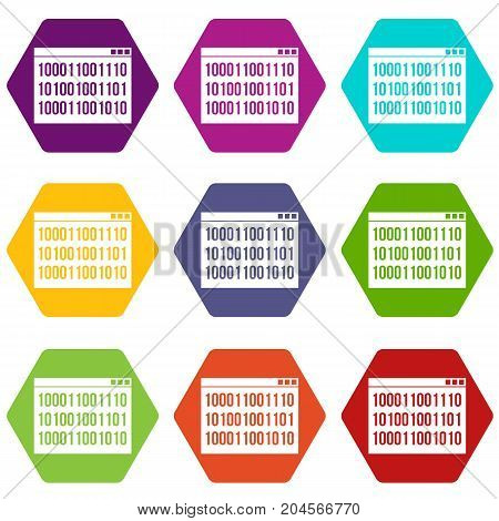 Binary code icon set many color hexahedron isolated on white vector illustration