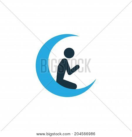 Premium Quality Isolated Man With Moon Element In Trendy Style.  Prayer Colorful Icon Symbol.