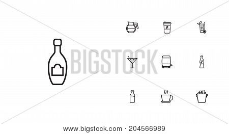 Collection Of Cocktail, Coffeepot, Dairy And Other Elements.  Set Of 10 Beverages Outline Icons Set.