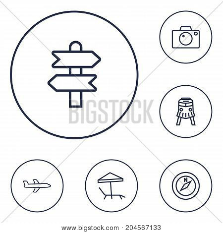 Collection Of Photo, Parasol, Compass And Other Elements.  Set Of 6 Relax Outline Icons Set.