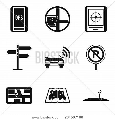 Signpost icons set. Simple set of 9 signpost vector icons for web isolated on white background