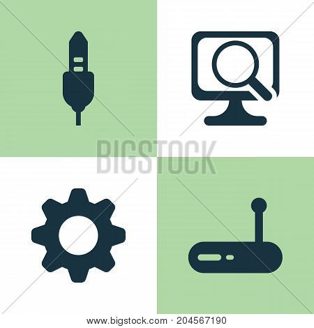 Hardware Icons Set. Collection Of Settings, Laptop, Router And Other Elements