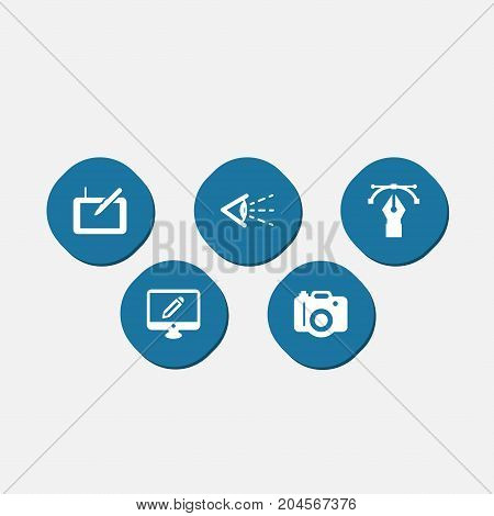 Collection Of Photo, Screen, Writing And Other Elements.  Set Of 5 Constructive Icons Set.