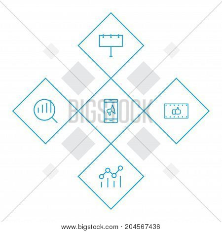 Collection Of Billboard, Research, Mobile Marketing And Other Elements.  Set Of 5 Advertising Outline Icons Set.