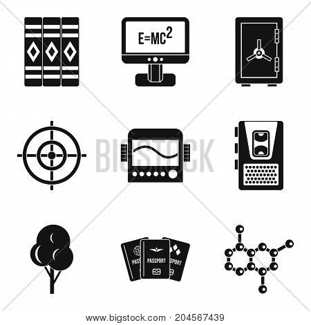 Computer training icons set. Simple set of 9 computer training vector icons for web isolated on white background