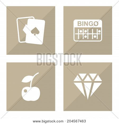 Collection Of Playing Cards, Lotto, Berry And Other Elements.  Set Of 4 Casino Icons Set.