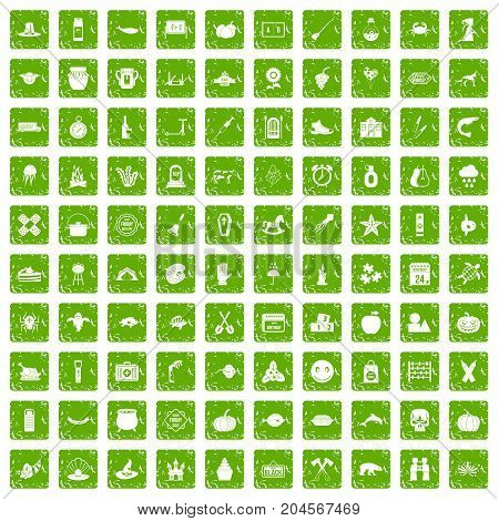 100 autumn holidays icons set in grunge style green color isolated on white background vector illustration