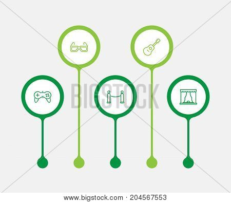 Collection Of Barrier Rope, Game Controller, Guitar And Other Elements.  Set Of 5 Amusement Outline Icons Set.