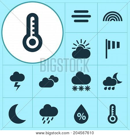 Weather Icons Set. Collection Of Douche, Colors, Snowy And Other Elements