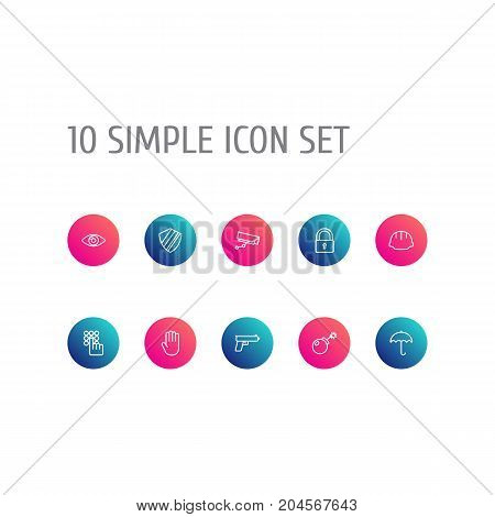 Collection Of Lock, Hand , Supervision Elements.  Set Of 10 Security Outline Icons Set.