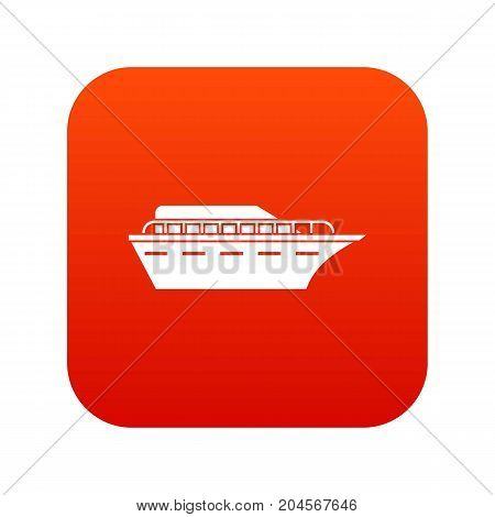 Powerboat icon digital red for any design isolated on white vector illustration