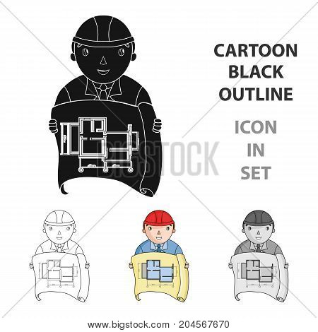 Architect with technical drawing icon in cartoon design isolated on white background. Architect symbol stock vector illustration.