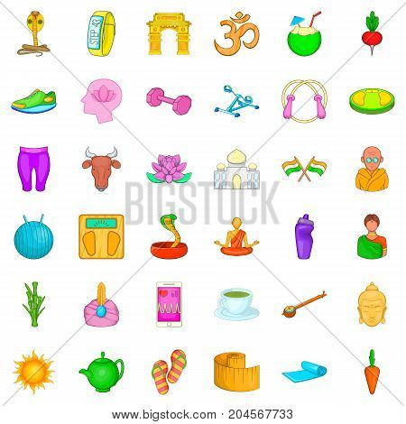 Snake icons set. Cartoon style of 36 snake vector icons for web isolated on white background