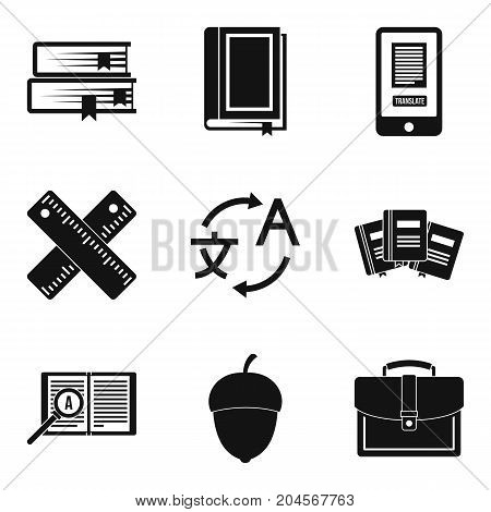 Learning languages icons set. Simple set of 9 learning languages vector icons for web isolated on white background