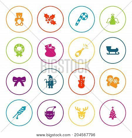 Collection Of Decoration, Mitten, Firework And Other Elements.  Set Of 16 Christmas Icons Set.