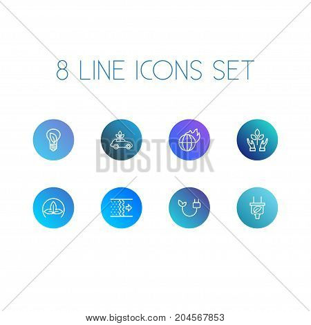 Collection Of Electricity, Global Warming, Charge And Other Elements.  Set Of 8 Bio Outline Icons Set.