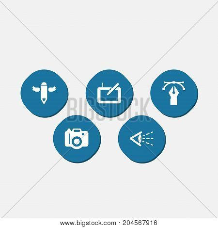 Collection Of Gadget, Wings, Writing And Other Elements.  Set Of 5 Creative Icons Set.